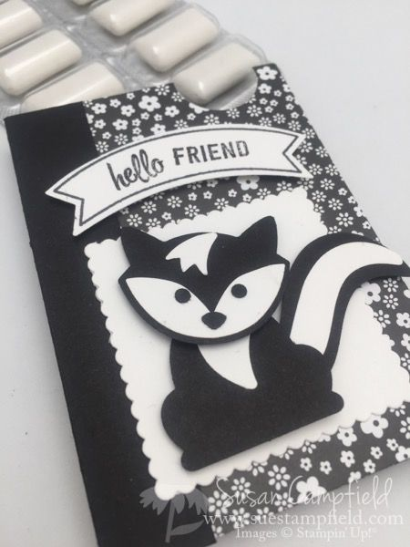 """Stinkin' cute skunks are easy with the new Fox Builder punch from Stampin' Up!®! This little box holds some breath freshening mints for any time you are feeling a little """"stinky""""! This guy holds so"""