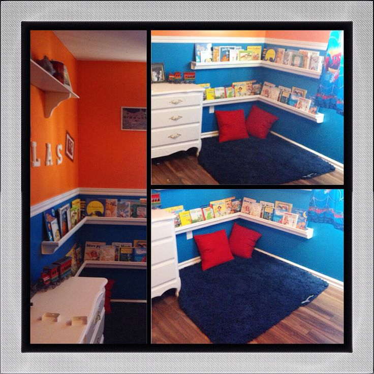 Corner reading space! Got the idea from interest & Modified it to just 2 shelves. Rug & pillows are from Target My son has been reading even more :)