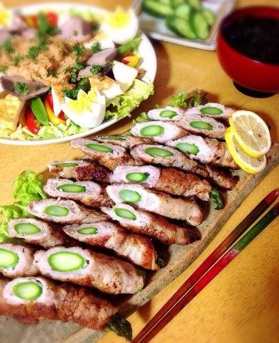 アスパラの肉巻きとなまり節と蒸し野菜のガドガドサラダ。 by Misuzu ...