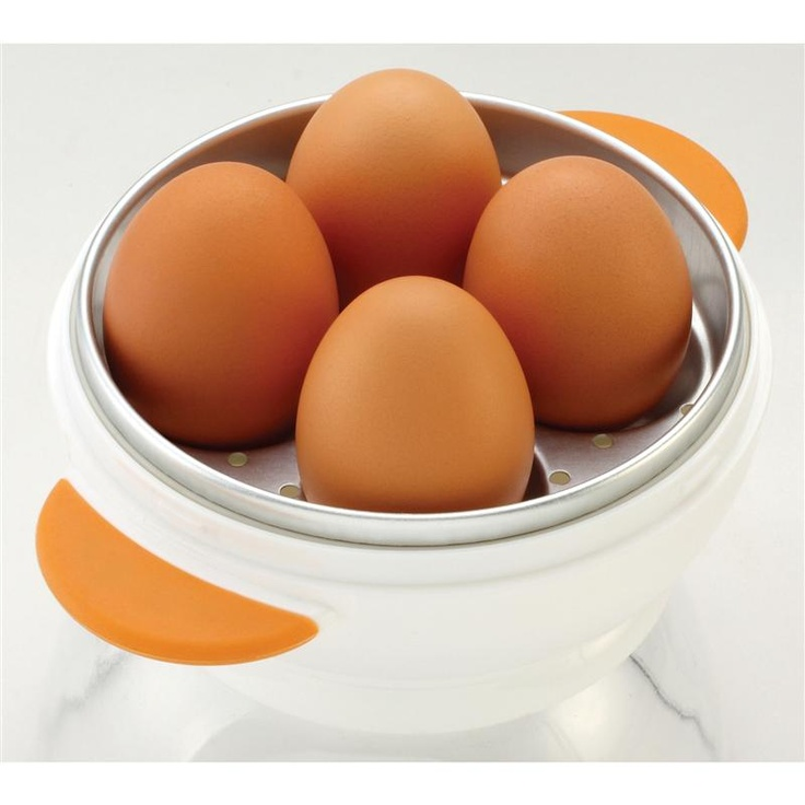 Joie Big Boiley Microwave Egg Boiler 4 Eggs White Orange