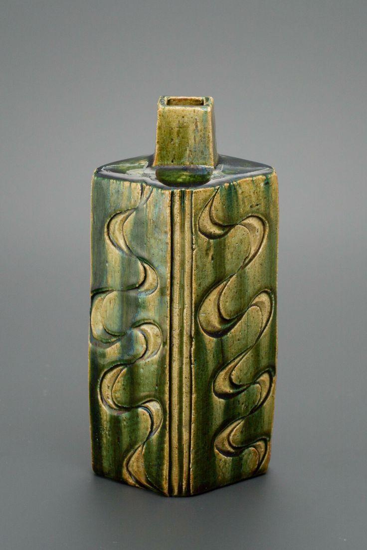 織部刻文方壷 Square vase with engraved, Oribe type 2012
