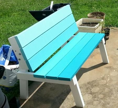 picnic table. Build 2 benches that flip and convert into a picnic ...