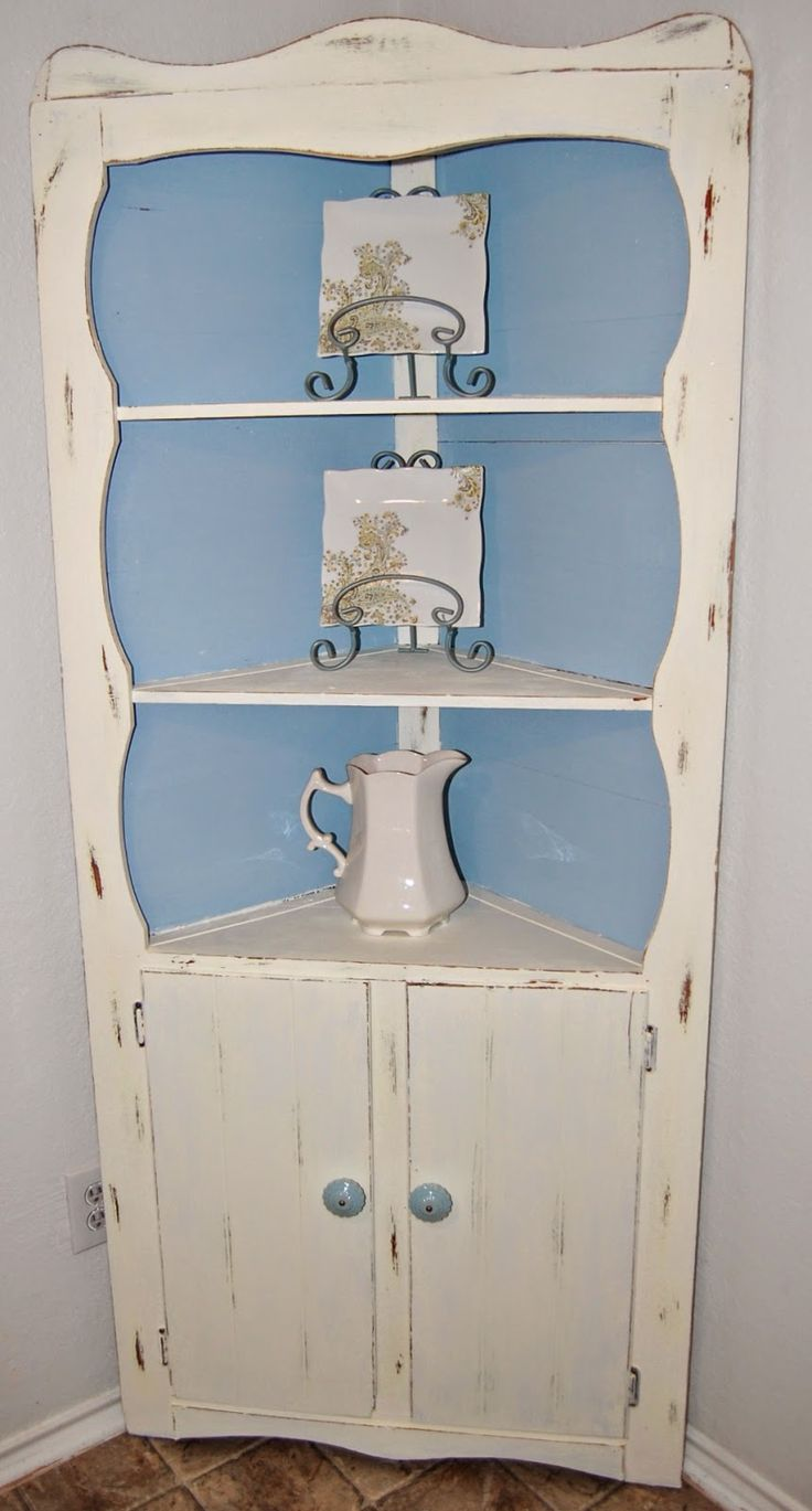 Upcycled Heavily Shellacked Corner Cabinet Turned Shabby