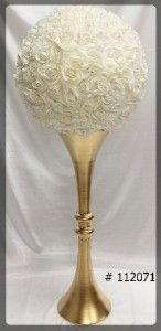 Gold Trumpet Planter 40 inch with flower ball   62 inch total