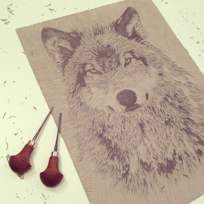 Wolf eyes linocut before inking up by john c thurbin