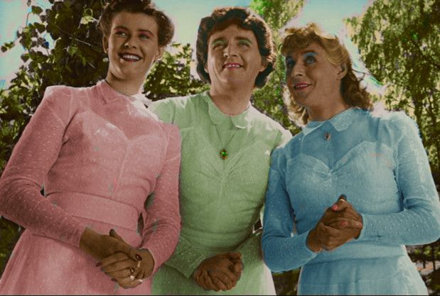 Britta Borg, Stig Jarrel and Hasse Ekman in the 1948 drag comedy Little Marta Returns.