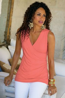 Shapely Surplice Tank from Soft Surroundings - like that it goes over the hips