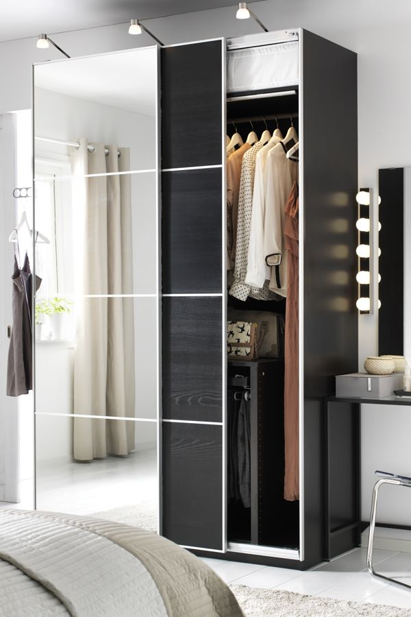 """Small living space, but lots of clothing? IKEA PAX fitted wardrobes are a """"you-choose-everything"""" kind of wardrobe. Pick the size, color and style to match your bedroom and to organize all your clothing and accessories!"""