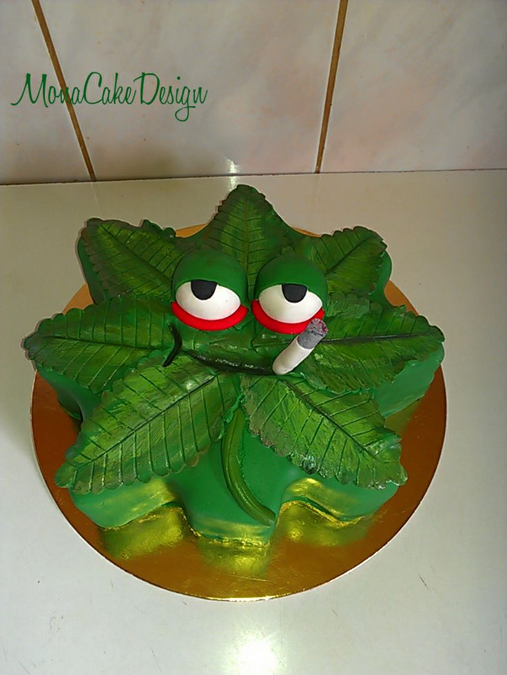 Birthday Cake With Marijuana For Candles Pic