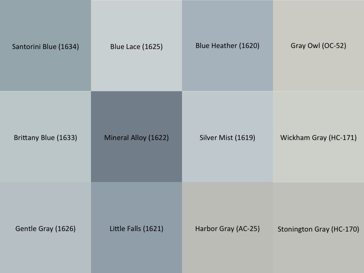 Benjamin Moore Gray and Blue paint samples for the interior of the house:  Stonington Gray (HC-170), Wickham Gray (HC-171), Gray Owl (OC-52), Harbor Gray (AC-25), Silver Mist (1619), Blue Heather (1620), Little Falls (1621), Mineral Alloy (1622), Blue Lace (1625), Gentle Gray (1626), Brittany Blue (1633), Santorini Blue (1634)