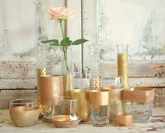 Gold Wedding Decor 12 Gold Dipped Vintage Vases And