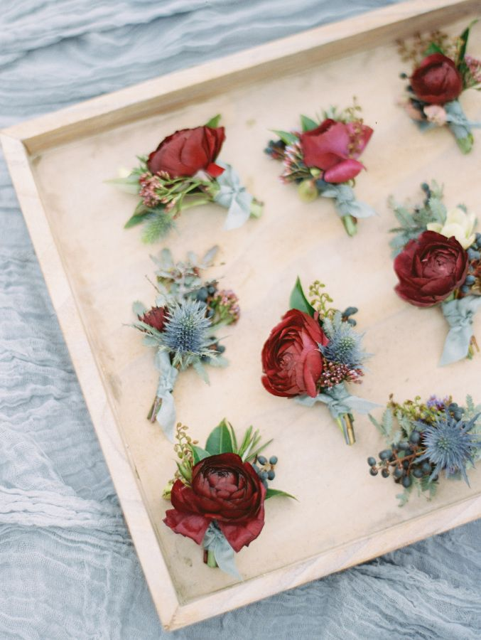 Rose and thistle wedding boutonnieres: http://www.stylemepretty.com/2017/03/14/a-moody-blue-wedding-inspired-by-fine-art/ Photography: Ryan Ray - http://www.ryanrayphoto.com/