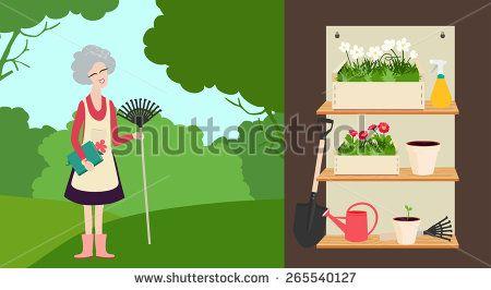 Elderly woman with a rake in a summer garden and a set of garden tools on shelves