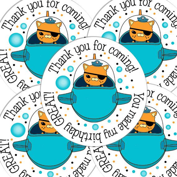 20  2 Inch round Octonauts Birthday sticker labels party favors