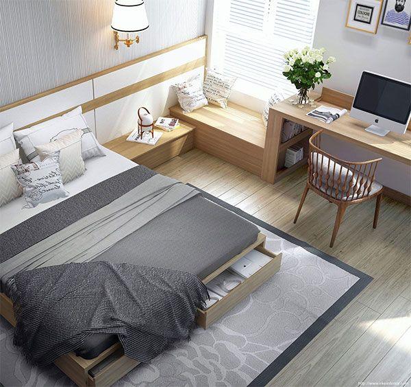 部屋のレイアウトに合わせた、ベッドサイズの選び方まとめ - VIP WORKS light-bright-small-bedroom-design
