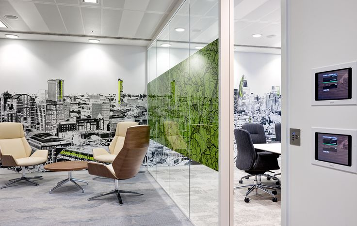 Survey Monkey offices - London Skyline mural with green accents