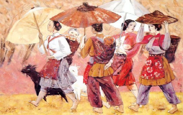 Summer fair  Ink and gouache on rice paper  91cm x 146cm