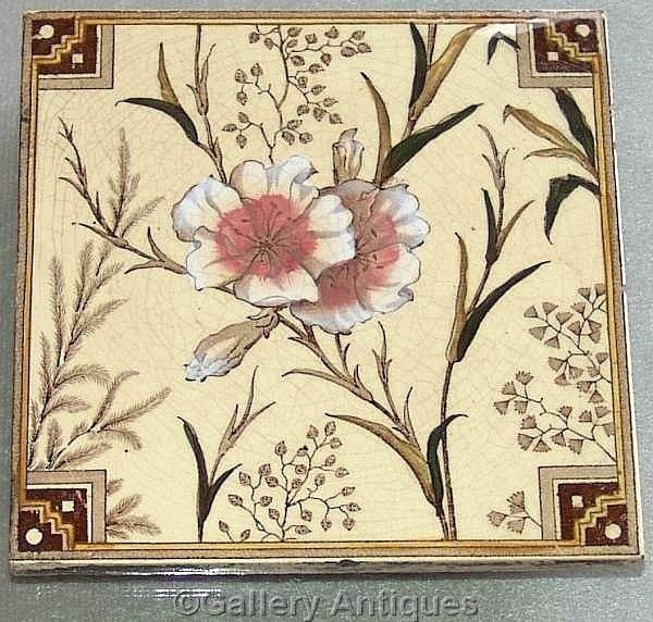 Sold ART NOUVEAU T G & F Booth AESTHETIC floral MAJOLICA japanesque TILE c.1887