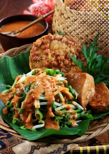 Pecel. vegetables such as long bean, sprout, spinach and (spicy) peanut sauce.   Indonesian Food