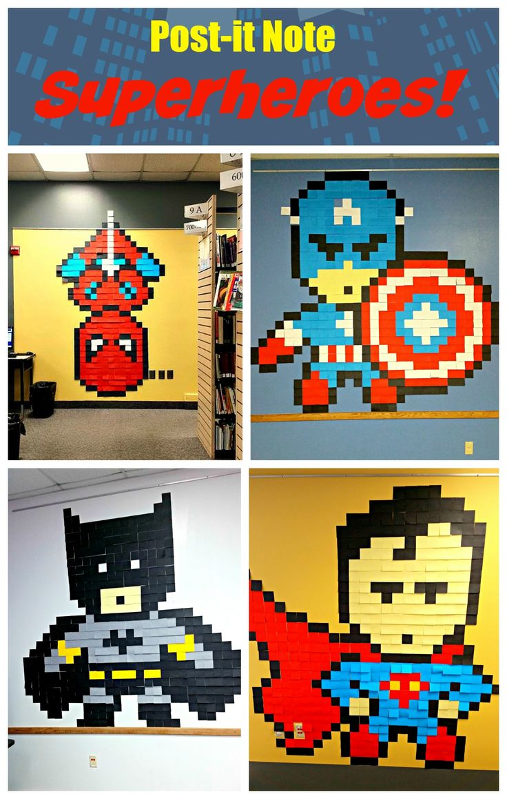 Post-it Note Superheroes! — Every Hero Has a Story — Super fun display for your library, classroom or superhero party! #SRP2015