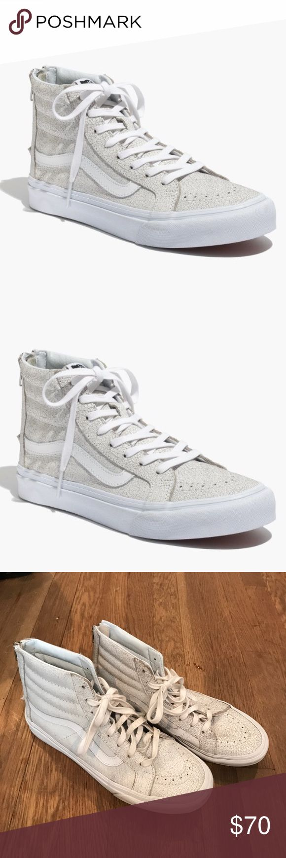 Madewell Vans Hi Slim Zip Crackle Suede White Great shoes for skateboarding or just hangin out. Look so cute with a dress. Worn less than 5 times. Minimal wear on the rubber, right shoe lace is a little dirty but could be replaced/ washed. Men's 8.5 Vans Shoes Sneakers
