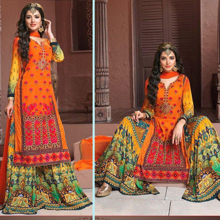indian embroidered bollywood wedding party pakistani salwar kameez suit sharara #Handmade #salwarkameez #Festive