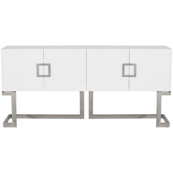 White lacquer media console with stainless steel base and square handle   modern  console. 17 Best images about Ideas para el recibidor on Pinterest