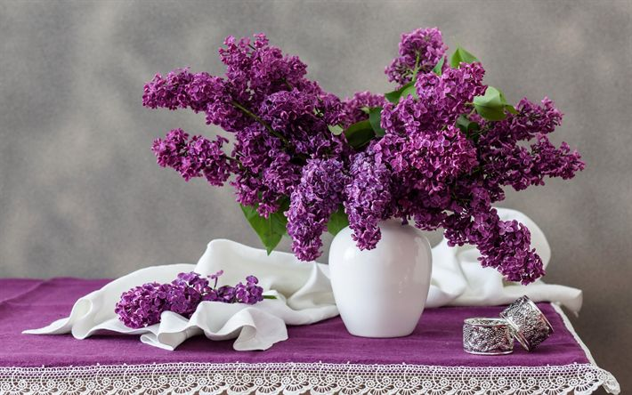 Download wallpapers lilac, spring bouquet, purple flowers, a bouquet of lilac, spring