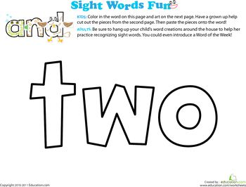 Decorate the Sight Words - Preschool Coloring Pages | Education.com