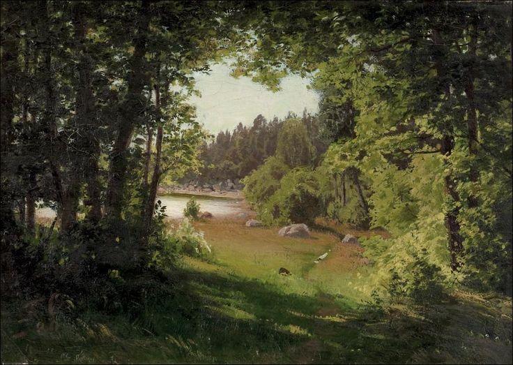 Landscape in Kemio - Maisema Kemiöstä - Sign.1880 - Öljy kankaalle - Bukowskis - Fanny Maria Churberg (1845-1892) ehti lyhyen ja myrskyisän taiteellisen uransa aikana luoda Suomen taiteen omaperäisimpiin lukeutuvia maisemamaalauksia.Hän oli kuitenkin roimasti edellä aikaansa.Churberg joutui murskakritiikin kohteeksi.Häntä kohdeltiin aloittelijana vielä taideuransa lopulla.Uudempi taidehistoria on kuitenkin todennut Churbergin olleen poikkeuksellinen lahjakkuus ja rohkea rajojen murtaja.