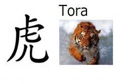 Tora (tigre) Significado: Tigre Significado abstracto: Que será fuerte como un tigre Lecturas: Tora Nombre de: Chico 虎 en nombres compuestos (Nagatora, Toranosuke)