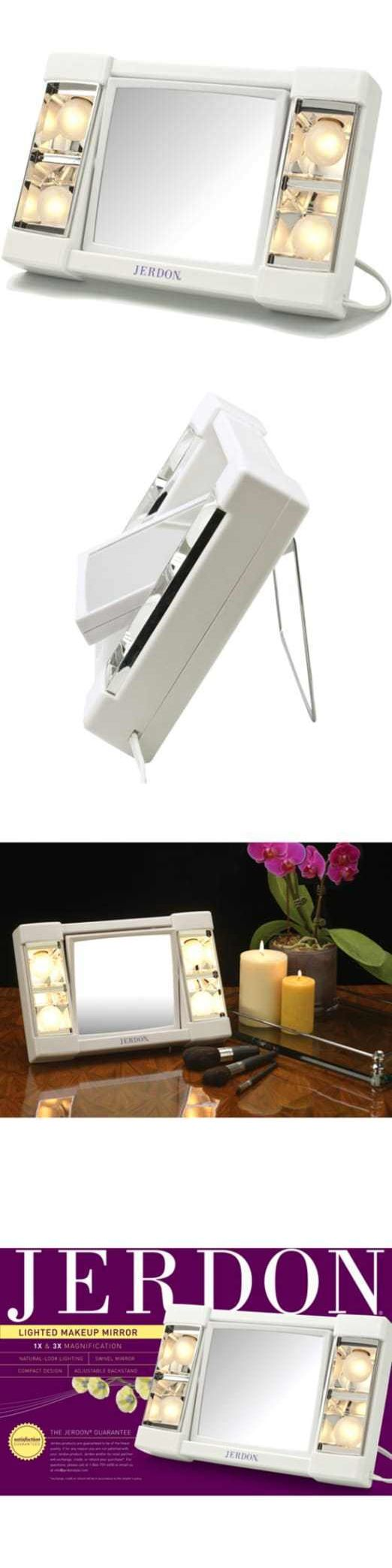 Makeup Mirrors: Jerdon 6 Portable Tabletop 2-Sided Swivel Lighted Makeup Mirror White BUY IT NOW ONLY: $35.53