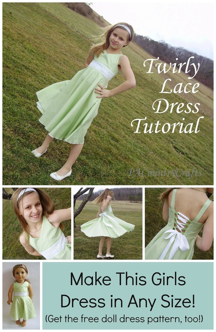 Free girls dress tutorial with lace up corset back, full circle skirt, cross-over front bodice, and lace overly. There is even a free doll dress pattern to match! Twirly Lace Dress Tutorial #sewing