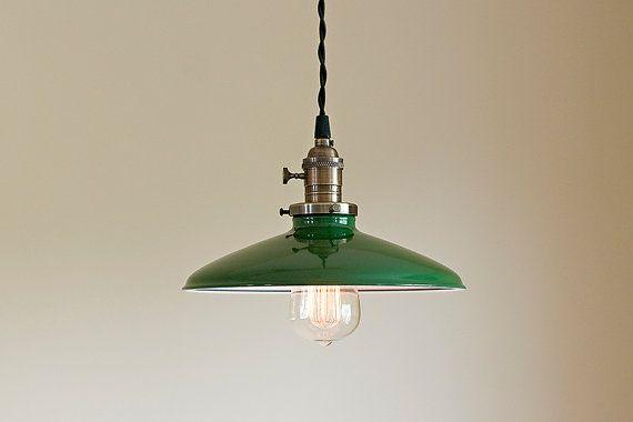 Suspension luminaire : Vintage - Style industriel métal ombre verte ** vente ** coupon code « tenpercent » pour 10 % de réduction sur