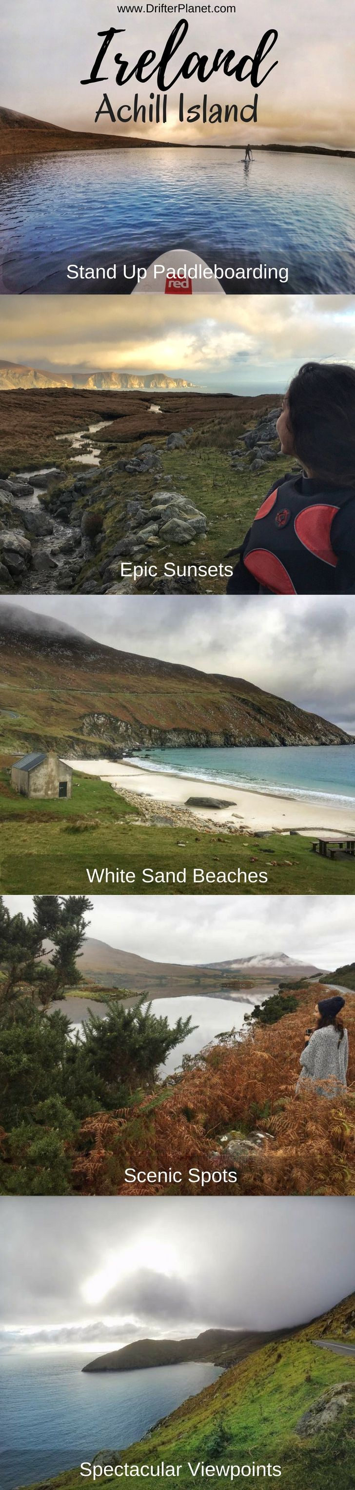 Travel guide to Achill Island - the coolest place in Ireland - on the Wild Atlantic Way.  This island has some of the most breathtaking viewpoints, a white sand beach - Keem Beach and many adventure options such as SUP (Stand up Paddleboarding). It is in county Mayo.