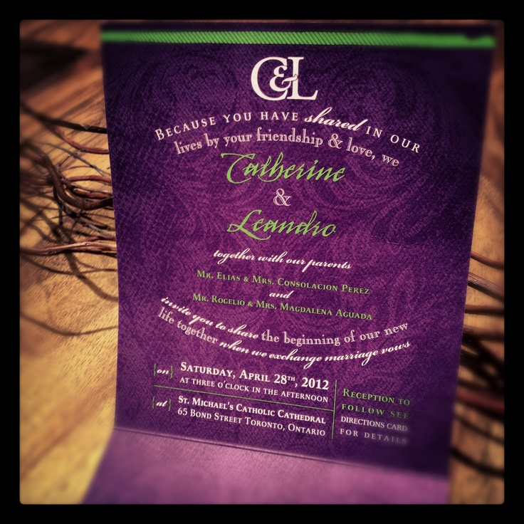 wedding reception directions card%0A Purple and kiwi green wedding invitations
