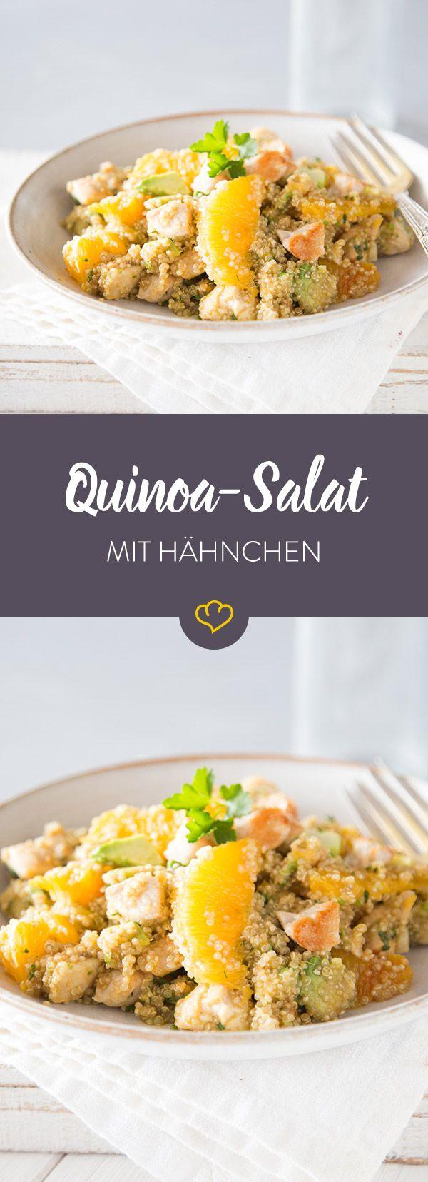 Hähnchen und Ananas – ein alter Hut. Neu ist die Kombination aus Hähnchen und Orange. Schmeckt zu Quinoa und einem fruchtigen Honig-Dressing ganz wunderbar.