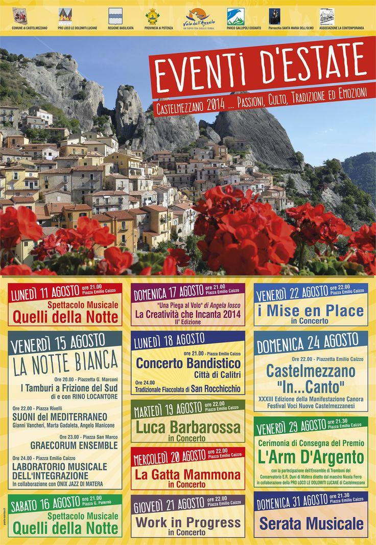 """Idea grafica, impaginazione estampadimanifesti e volantini per """"EVENTI D'ESTATE """" –Castelmezzano 2014 Cliente: Comune di Castelmezzano"""