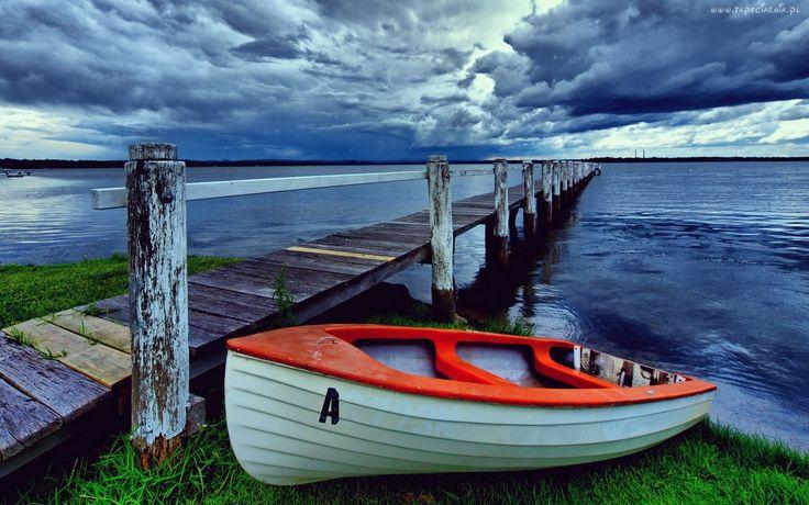 Jezioro, Łódka, Molo, Chmury