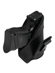 New Black Leather Tuckable IWB Holster for Compact Sub-Compact 9mm .40 .45 Pistols (TU68-22BL)