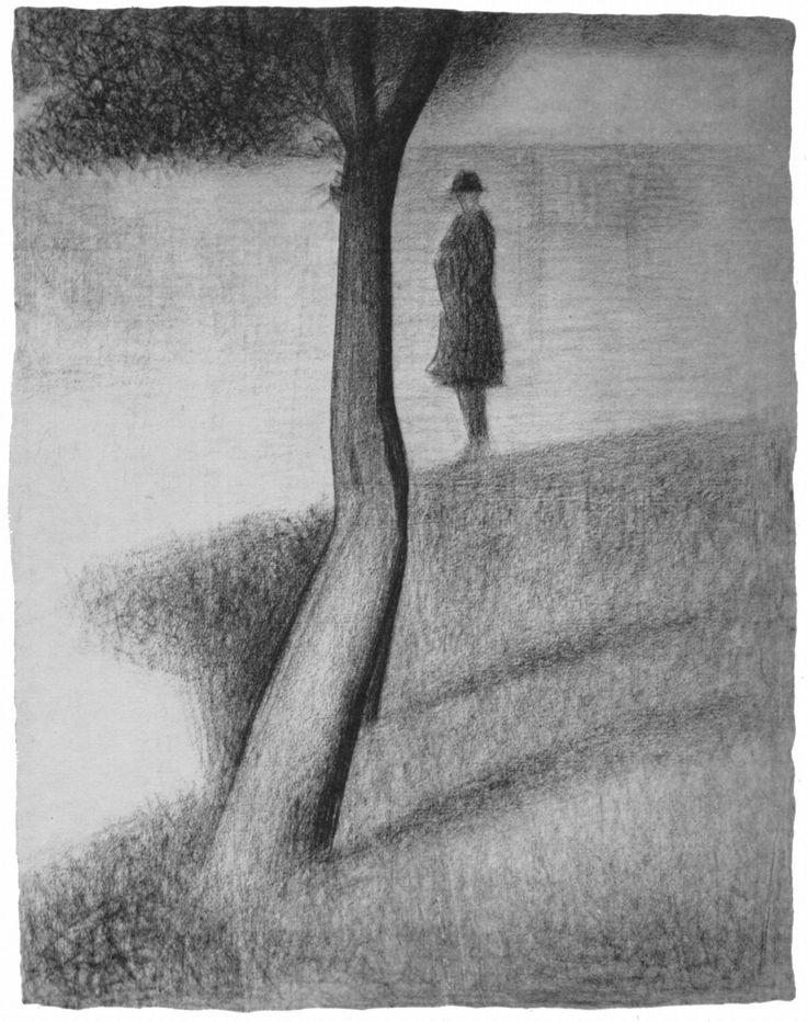 seurat: Georges Seurat | Ein Sonntag auf La Grande Jatte, Studie; Mann neben Baum | Man next to the tree | Conté-Kreide auf Papier | Graphi...