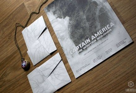 Birthday invitation to go see Captain America: The Winter Soldier. A4 sheet invitation that was folded into an origami envelope for postage.