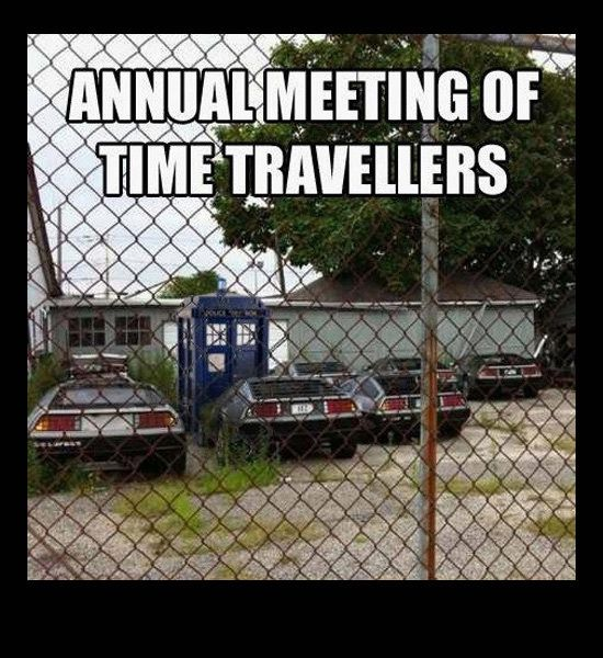 funny photos, Delorean collection, annual time travelers, Back to the Future