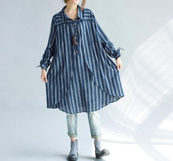 women Loose fitting Long cotton shirt Blue shirt black shirt