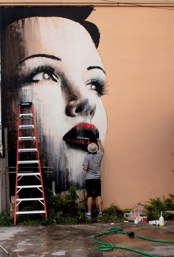 The 1st large mural that street artist Rone ever painted. Rone street art Miami 2010.