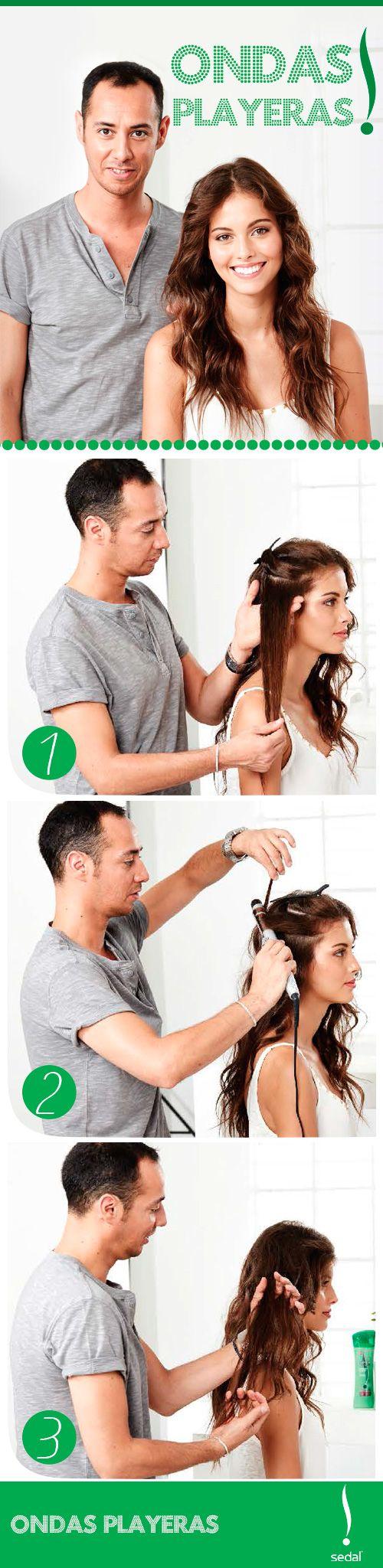 Paso a paso para ondas playeras.  Divide tu pelo en capas. Con el ondulador bien caliente enrollas en forma de espiral. Sueltas y estiras el rulo. Déjalo enfriar y luego sepáralo con los dedos.