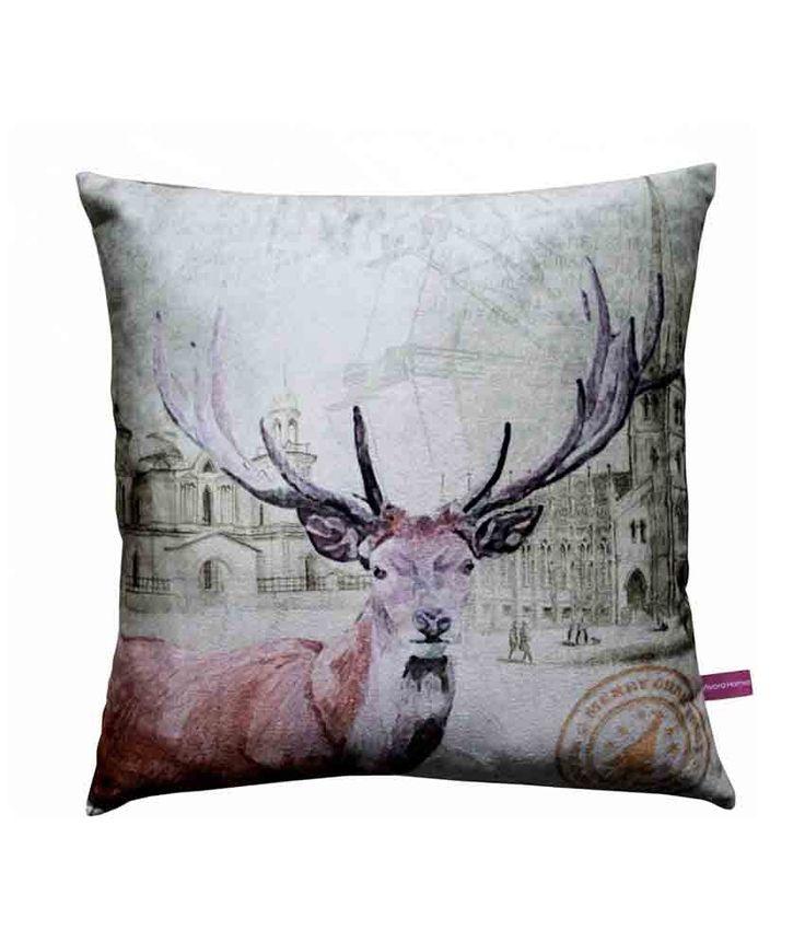 Deer Christmas  Cushion Cover by Vivora Homes