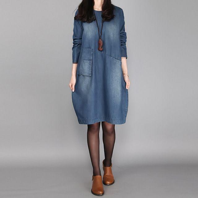Fashion Women Autumn  O Neck Long Sleeve Denim Blue Pockets VintageLoose Casual Party Knee-Length Vestido Tunic Baggy Dress
