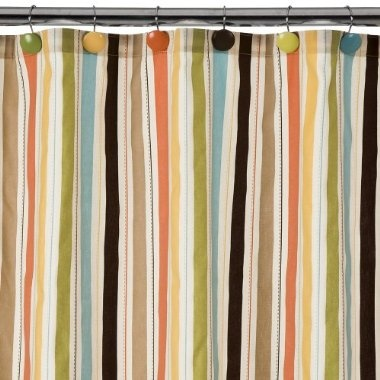 liking this Target twenty-five dollar shower curtain for the upstairs full bath since the tub/tiles are taupe