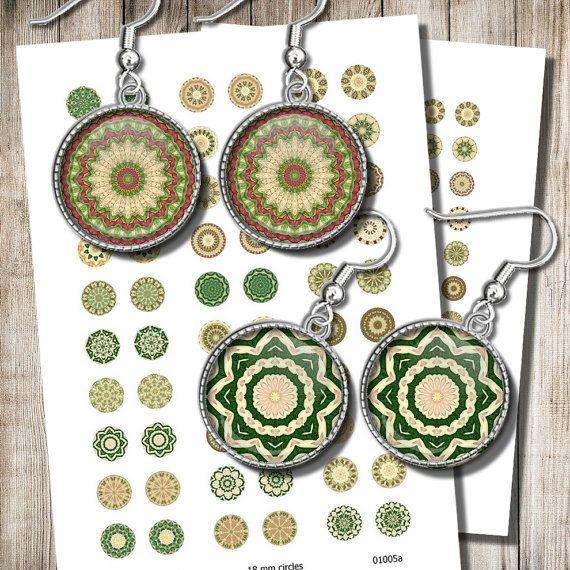 Printable Green Mandala Images 18 mm 15 mm 12 mm Circles